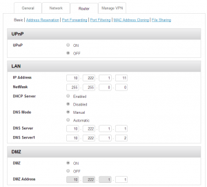Netgear 6100D LAN Settings Page