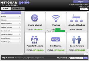 Netgear 6100D Native GUI Home Screen