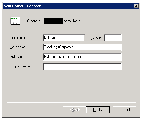 Exchange 2003 - Create Contact Dialog 1