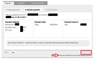 Sprint.com - Unresponsive payment workflow