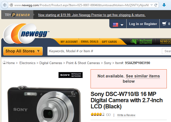 Newegg Random Sony Camera