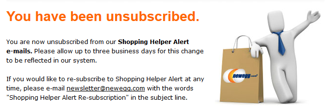 Newegg Shopping Helper Alert Unsubscribe Screen
