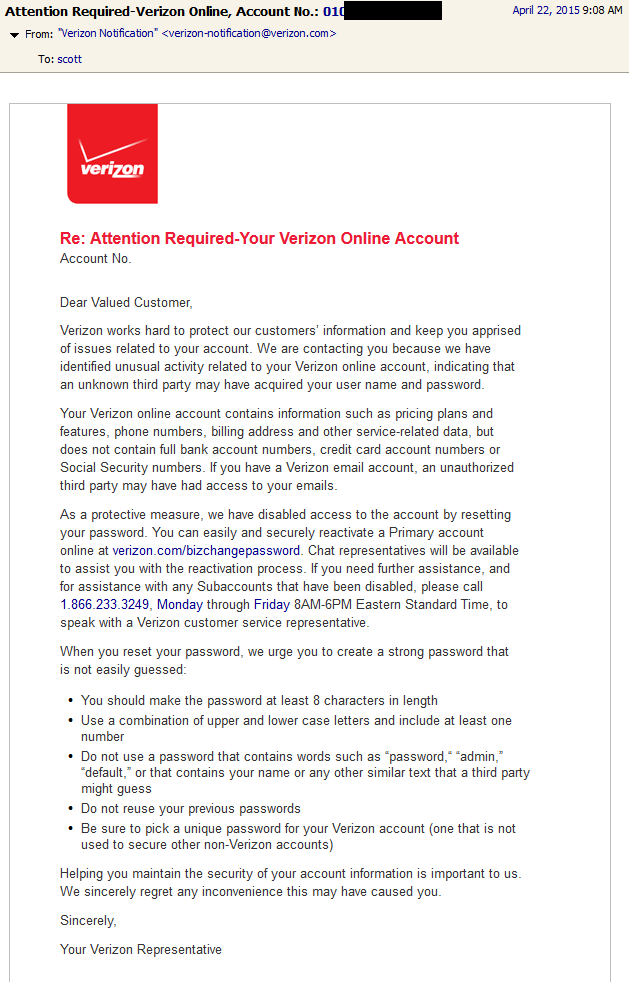 Verizon - Account Password Reset Email