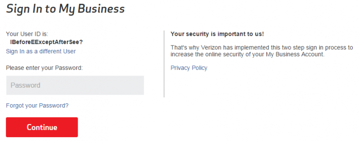 Verizon Login - Example of Poor Grammar 2