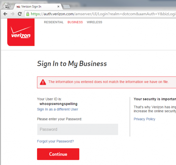 Verizon Login - Right spelling password entry