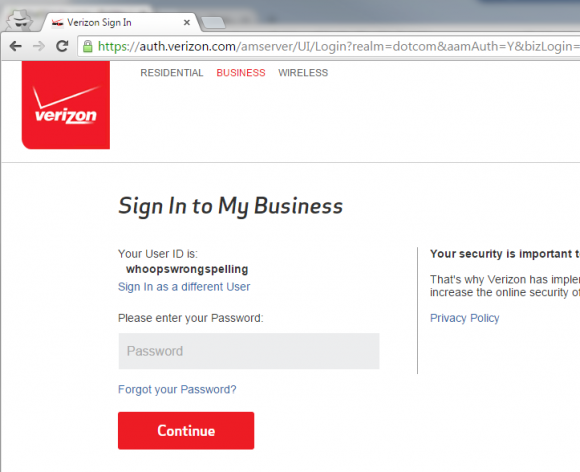 Verizon Login - Wrong spelling password entry