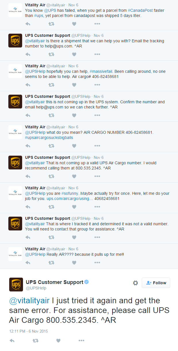 Vitality Air mocks UPS on Twitter